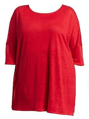 Caroline Rose Caroline Rose, Plus Size Women's Wild Card Knit Linen Tunic