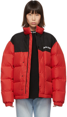 Palm Angels Red Down Track Puffer Jacket