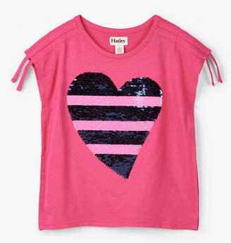 Hatley Flip Sequin Heart Cinched Shoulder Tee