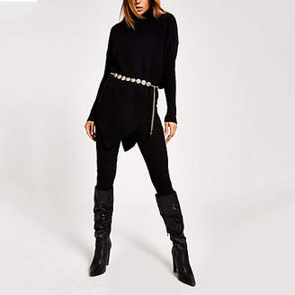 River Island Black knitted high neck cape jumper