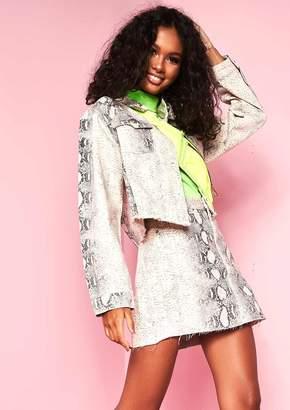 f4a322214f Missy Empire Page Snake Print Denim Skirt
