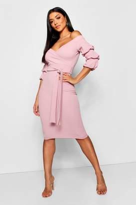 boohoo Off the Shoulder Sleeve Detail Midi Dress