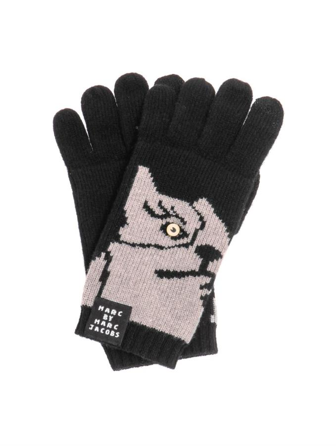 Marc by Marc Jacobs Olive the dog knitted gloves