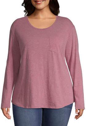 A.N.A Long Sleeve Pocket T-Shirt - Plus