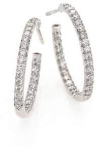 """Roberto Coin Diamond& 18K White Gold Inside-Outside Hoop Earrings/0.75"""""""