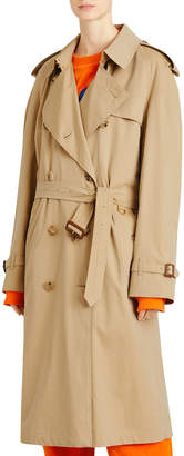 Westminster Tropical-Gabardine Double-Breasted Trench Coat w/ Rainbow Stripe
