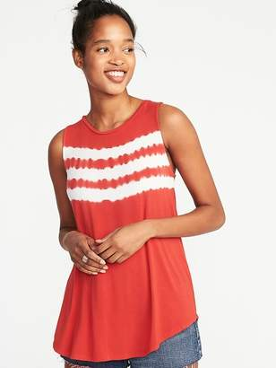Old Navy Luxe High-Neck Curved-Hem Tie-Dye Tank for Women