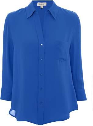 L'Agence Ryan Three-Quarter Sleeve Blue Blouse