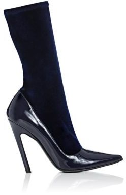 "Balenciaga Women's ""Broken""-Heel Sock Ankle Boots-NAVY $795 thestylecure.com"
