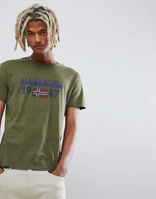 Napapijri Solin logo crew neck t-shirt in khaki