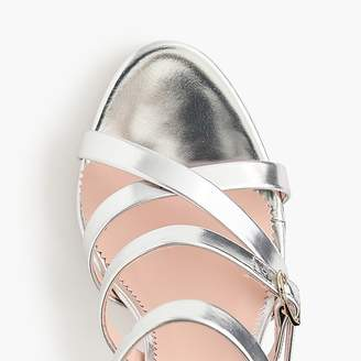 J.Crew Buckled high-heel sandals in mirror metallic