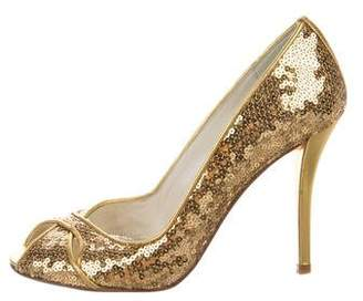 Stuart Weitzman Sequined Peep-Toe Pumps