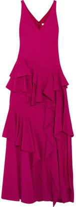 Halston Tiered Ruffled Crepe Maxi Gown - Purple