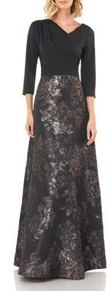 Kay Unger New York Izabella Asymmetrical Neck Floral Jacquard Gown w/ Stretch Faille Bodice
