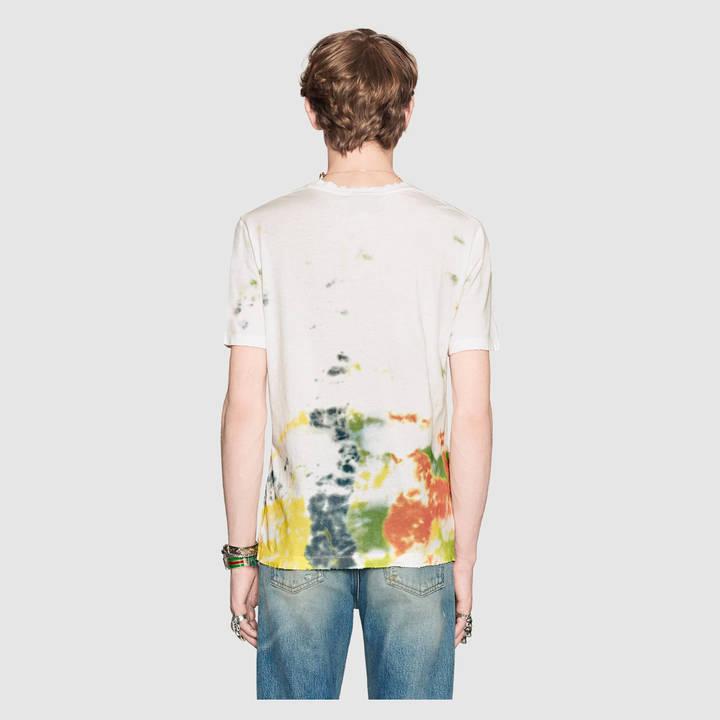 Cotton tie-dye t-shirt with Gucci logo 2