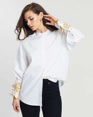 Maison Scotch Oversized Button-Up Shirt with Raglan Sleeves