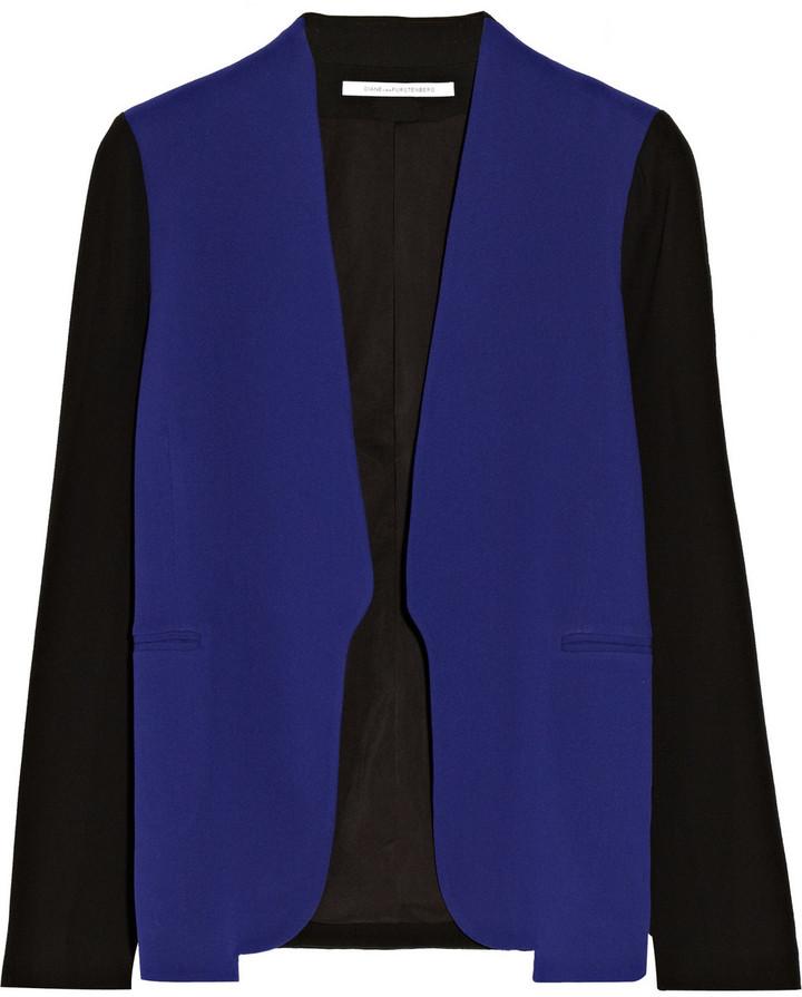 Diane von Furstenberg Paulette two-tone crepe blazer