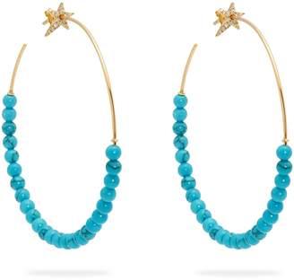 Diane Kordas Diamond, turquoise & rose-gold hoop earrings