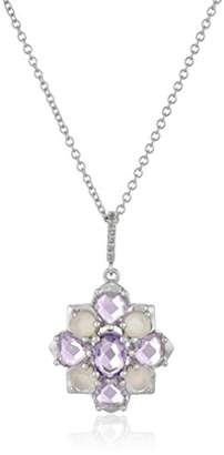 Sterling Multi-Gemstones and Diamond Accent Cluster Flower Pendant Necklace