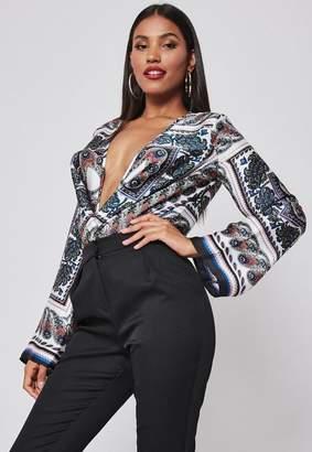Missguided Navy Scarf Print Satin Drape Plunge Bodysuit