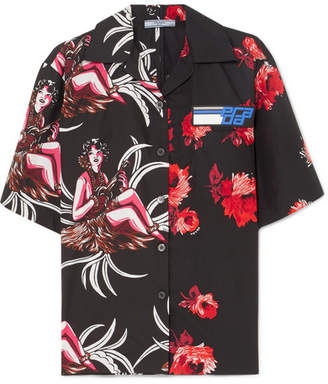 Prada Printed Cotton-poplin Shirt - Red