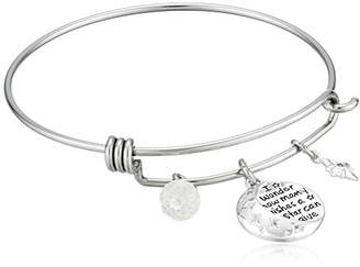 """Disney Stainless Steel Catch Bangle with Plated Moon Charm """"I Wonder How Many Wishes A Star Can Give"""" and Crystal Bead Charm Bangle Bracelet"""