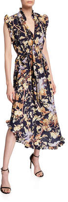 Zimmermann Sabotage Floral Self-Tie Midi Dress