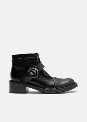 Aalto Calf Leather Buckle Ankle Boots Black
