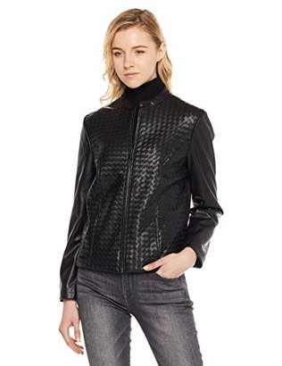 MEHEPBURN Womens Faux Leather Zip Up Moto Biker Jacket M