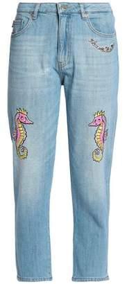 Love Moschino Printed High-rise Boyfriend Jeans