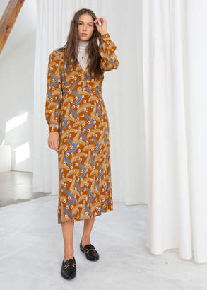 And other stories Plunging Ruched Midi Dress