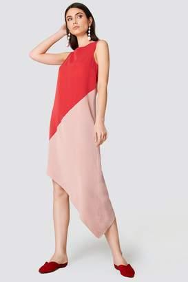 Trendyol Blocked Asymmetrical Midi Dress Vermilion