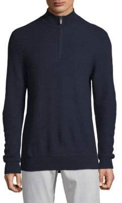 Saks Fifth Avenue BLACK Textured Quarter-Zip Wool Sweater