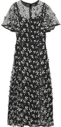 Lela Rose Satin-trimmed Embroidered Tulle Midi Dress