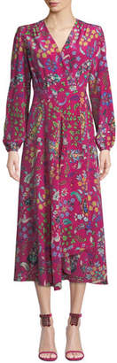 Etro Long-Sleeve Floral Print Midi Wrap Dress