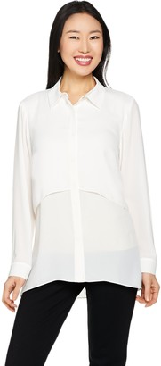 Joan Rivers Classics Collection Joan Rivers Button Front Layered Blouse