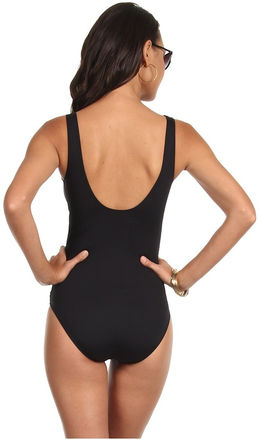Lauren Ralph Lauren LAUREN by Ralph Lauren Laguna Solids Ruffle Underwire Tank Swimsuit w/ Slimming Fit