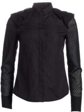 Akris Punto Cotton Swiss Dot Wave Shoulder Shirt