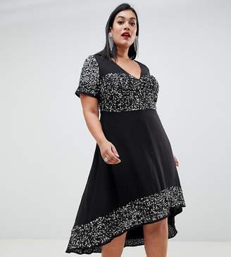 Lovedrobe Luxe Plus Lovedrobe Lux embellished hanky hem dress
