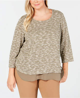 Alfred Dunner Plus Size Autumn in New York Layered-Look Knit Top