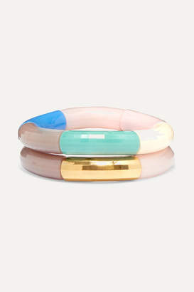 Kyoto Tango - Set Of Two Resin And Gold-plated Bangles - Pink