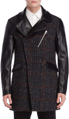 Patrizia Pepe Mixed Media Faux Leather & Tweed Coat