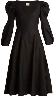 Khaite - Edwina Bodice Cotton Dress - Womens - Black