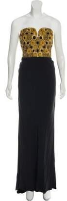 Alexander McQueen Embellished Strapless Gown Black Embellished Strapless Gown