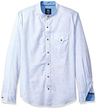 Badger Smith Men's Solid Structure Slim Fit Banded Collar Shirt L