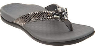 Vionic Embellished Leather Thong Sandals -Tide Jewel