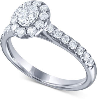 Macy's Diamond Oval Halo Engagement Ring (1 ct. t.w.) in 14k White Gold