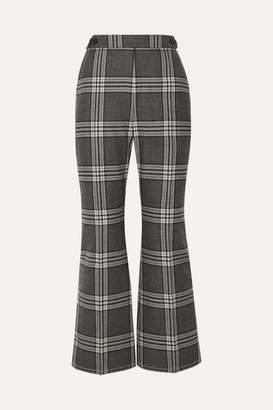 Marni Cropped Checked Wool Flared Pants - Dark gray