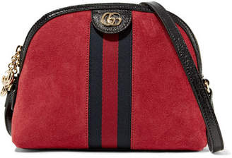 Gucci Ophidia Patent Leather-trimmed Suede Shoulder Bag - Claret