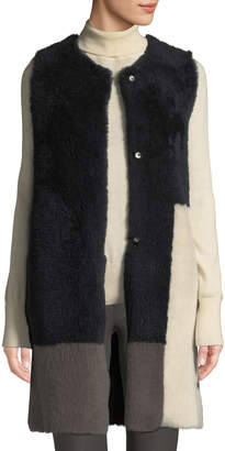 Karl Donoghue Colorblock Lamb Shearling Long Vest